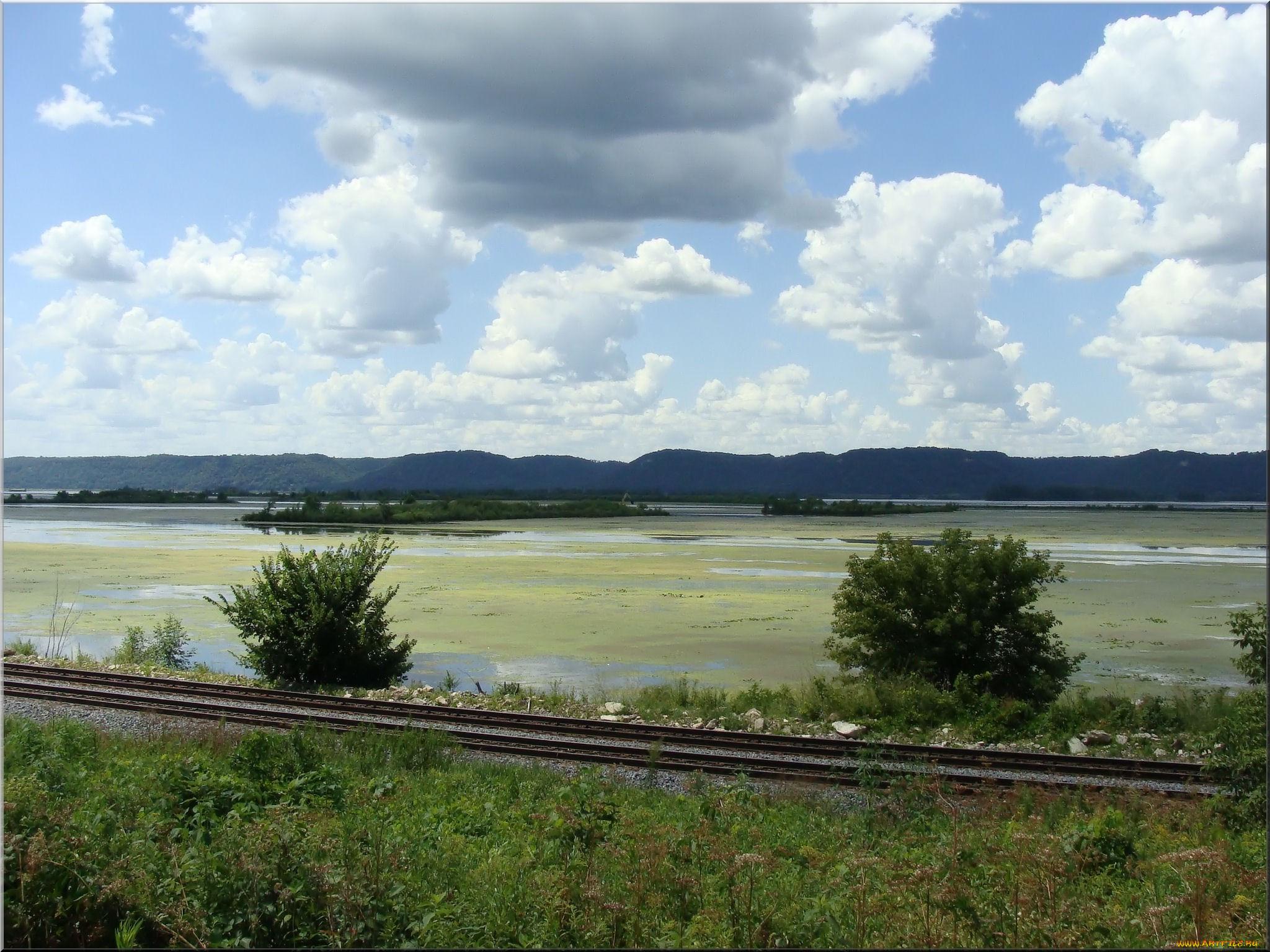 природа, дороги, железная, дорога, озеро